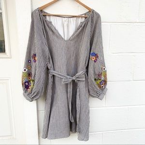 Anthro Feather Bone Lindsey Embroidery Tunic Dress